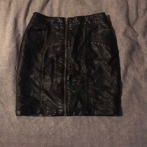 Black Fake-Leather Skirt